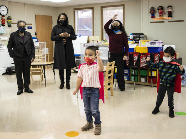 Mayor Lori Lightfoot (left) and Chicago Public Schools CEO Janice Jackson (second from left) visit a preschool classroom at Dawes Elementary School in Chicago on Jan. 11.