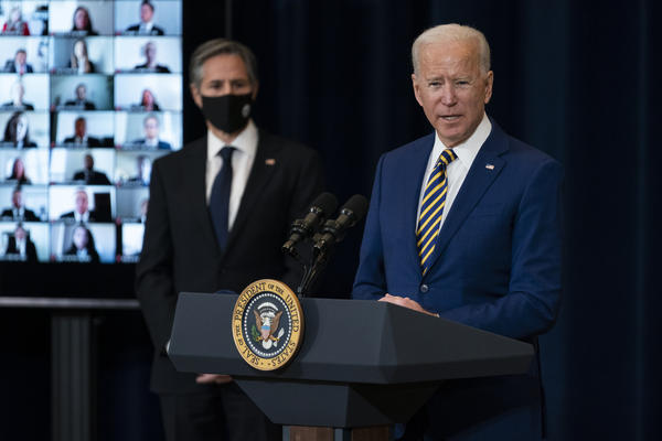 Secretary of State Antony Blinken, left, announced the Biden administration's plan to terminate agreements with El Salvador, Guatemala and Honduras that allowed the U.S. to send asylum-seekers to those countries.