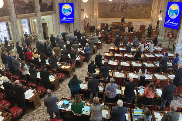 The Montana House of Representatives convenes its floor session on Jan. 29 in Helena, Montana. Lawmakers across the U.S. this year face the dilemma of having to tighten budgets for the covid-crippled economy while planning for an expected spike in demand for health services because of the pandemic. (Matt Volz/KHN)