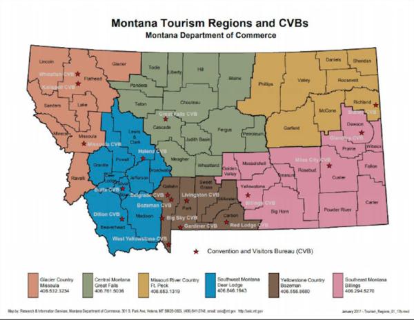A 2017 map showing Montana's six tourism regions.