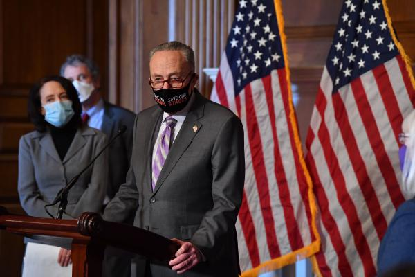Senate Majority Leader Chuck Schumer, D-N.Y., tells reporters Tuesday that the Senate can do the impeachment trial <em>and</em> COVID-19 relief simultaneously.