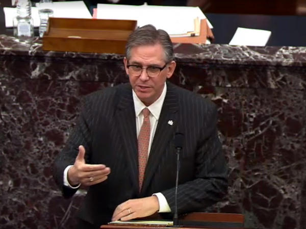 In this screenshot taken from a congress.gov webcast, Bruce Castor Jr. defense lawyer for former President Trump speaks on the first day of Trump's second impeachment trial.