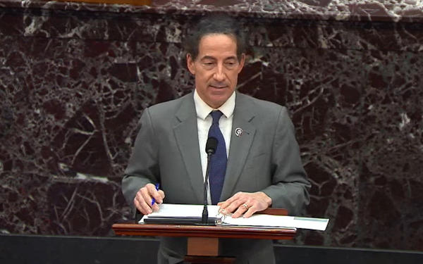 """Lead impeachment manager Rep. Jamie Raskin, D-Md., called former President Donald Trump """"inciter-in-chief"""" during opening arguments of the second day of the Senate impeachment trial."""
