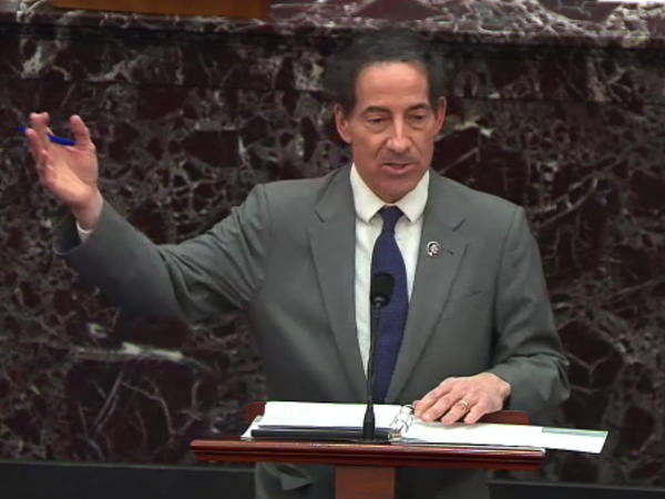 Rep. Jamie Raskin, D-Md., the lead House impeachment manager, speaks in the Senate on Wednesday. He argued that former President Donald Trump incited the Jan. 6 attack on the U.S. Capitol and that his words are not protected by the First Amendment.