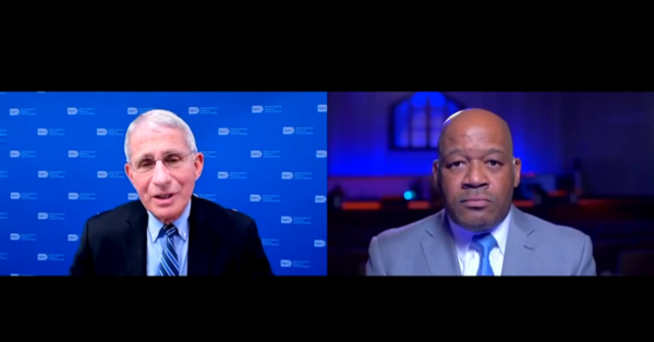 Pastor Timothy Sloan interviewed Dr. Anthony Fauci, Director of the National Institute of Allergy and Infectious Diseases, about the COVID-19 vaccine. The Zoom call aired during a virtual Sunday sermon at the Luke Church in Humble.