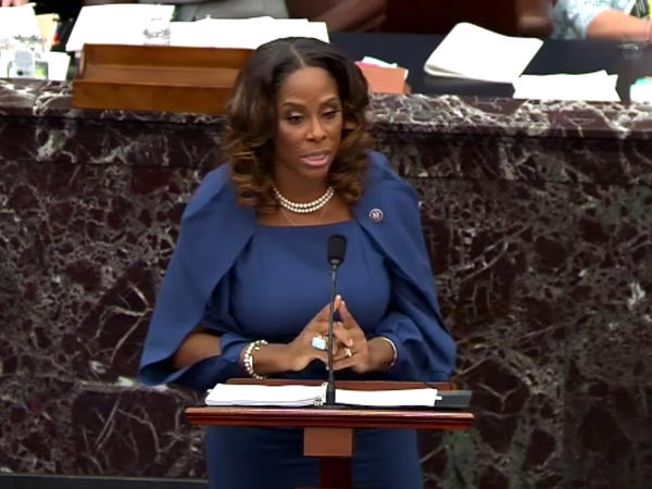 """Del. Stacey Plaskett, D-U.S. Virgin Islands, speaks Wednesday during former President Donald Trump's second impeachment trial. She argued that Trump was """"singularly responsible"""" for the Jan. 6 attack at the U.S. Capitol and that he should be convicted and barred from holding public office again."""