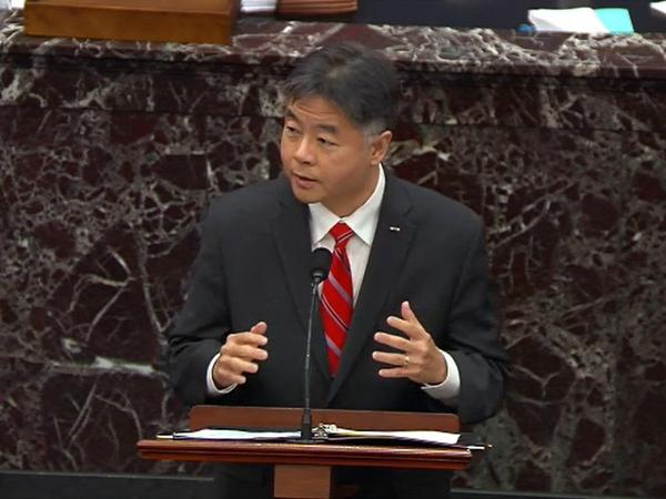 Rep. Ted Lieu, D-Calif., speaks on the third day of former President Donald Trump's second impeachment trial. House impeachment managers argue that Trump both incited the Jan. 6. insurrection and showed no remorse after the attack.