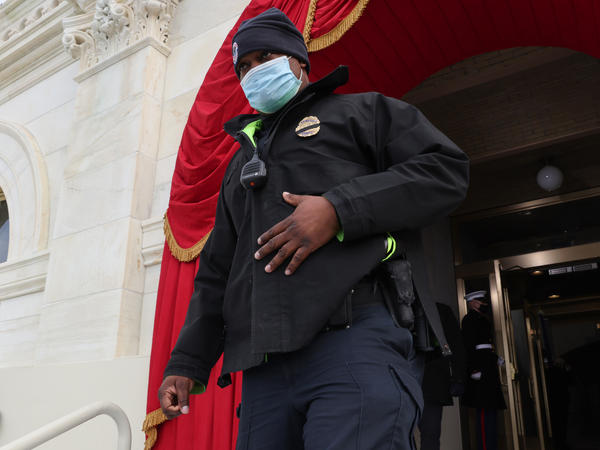Capitol Police Officer Eugene Goodman, hailed by many for his heroism during the Jan. 6 attack on the U.S. Capitol, participates in a the dress rehearsal for Inauguration Day.