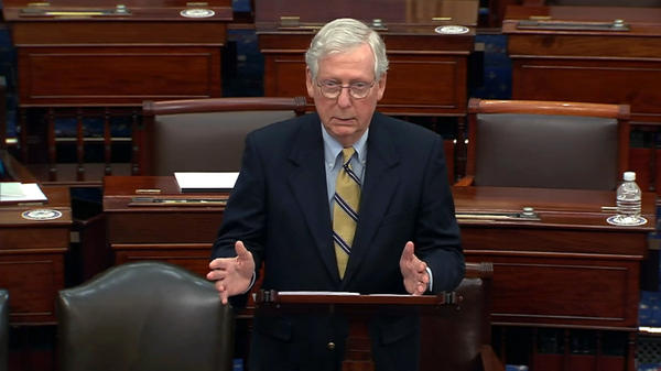 Senate Minority Leader Mitch McConnell, R-Ky., speaks after the Senate voted 57-43 in former President Donald Trump's impeachment trial. The chamber needed 67 votes for conviction.