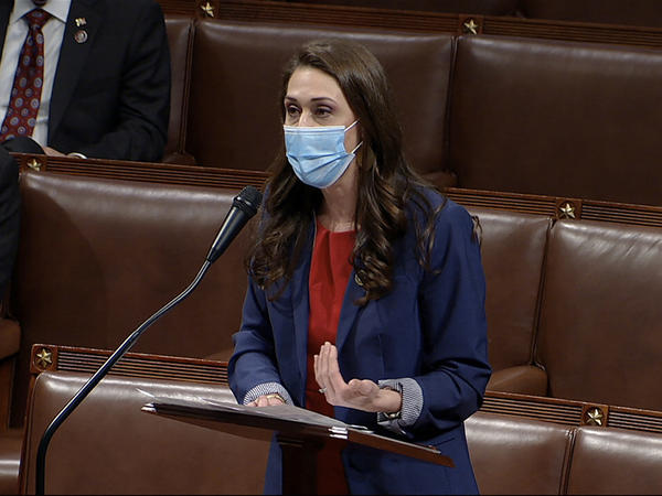 Rep. Jaime Herrera Beutler, a Republican, has faced mixed reactions in her Washington state congressional district for her support of former President Donald Trump's impeachment. Above, Herrera Beutler speaks as the House debates an objection to the Electoral College vote in January.