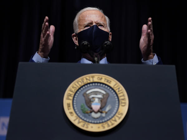 "President Biden said the attack on the Capitol ""has reminded us that democracy is fragile."" Above, Biden speaks during a visit Thursday to the National Institutes of Health in Bethesda, Md."