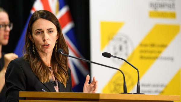 New Zealand Prime Minister Jacinda Ardern addresses media questions during a COVID-19 news conference on Feb. 14 in Wellington, New Zealand. Three new cases of the coronavirus have been confirmed in Auckland, the country's largest city.