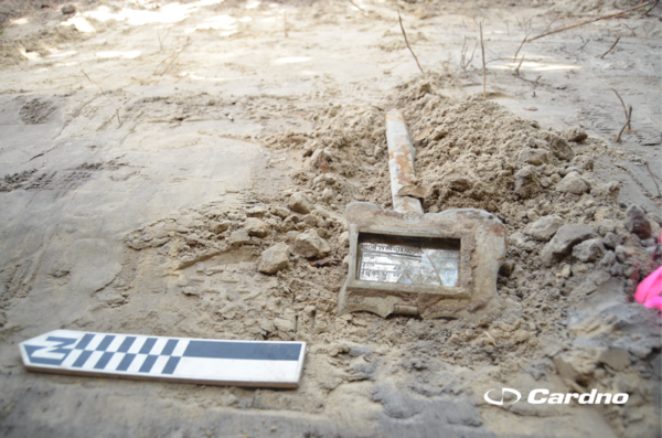 During excavation of the former North Greenwood cemetery site in Clearwater, archaeologists discovered 29 grave shafts, as well as artifacts like this grave marker.