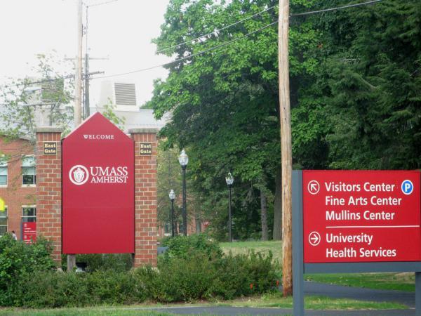 An entrance to UMass Amherst. (Deborah Becker/WBUR)