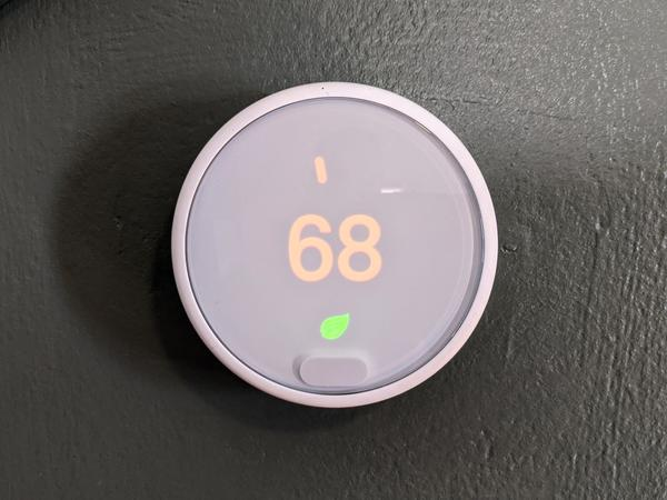 A thermostat set to 68 degrees.