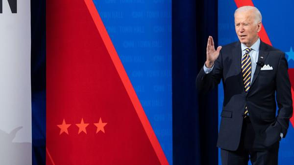 President Biden participates in a CNN town hall at the Pabst Theater in Milwaukee, Wis., Tuesday evening.
