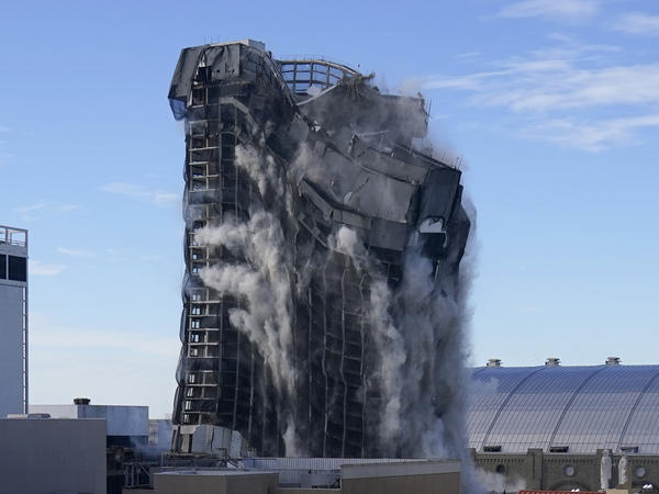 A series of explosions and a quick implosion reduced the former Trump Plaza in Atlantic City, N.J., to an 80-foot pile of rubble.