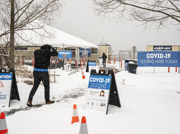 The Biden administration announced on Wednesday a range of initiatives to expand testing capacity in the U.S. A COVID-19 testing site in Seattle is seen here on Saturday.