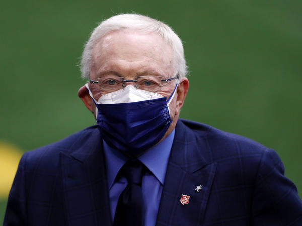 "Jerry Jones, owner of the Dallas Cowboys, looks on prior to a game against the Pittsburgh Steelers at AT&T Stadium on Nov. 8, 2020, in Arlington, Texas. An oil company in which he is the majority shareholder said it had hit the ""jackpot"" as natural gas prices surged during the winter storms."