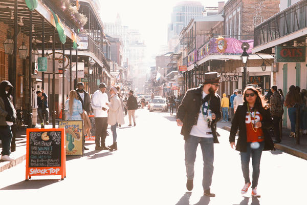 Bourbon Street before the city's new Mardi Gras restrictions went into effect. Feb. 7, 2021.