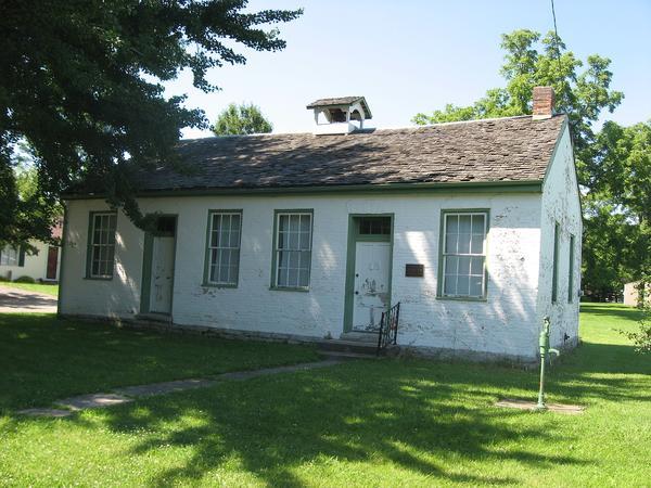 The front of the Elizabeth Harvey Free Negro School, located along North Street in Harveysburg, Ohio.