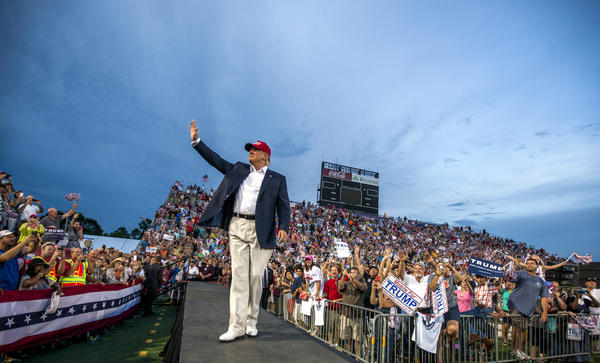 Then-candidate Donald Trump holds a campaign rally in Mobile, Alabama in August 2015.