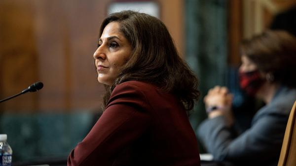Neera Tanden, nominee for director of the Office of Management and Budget, testifies during a Senate committee hearing on Capitol Hill on Feb. 10, 2021.