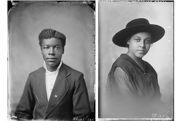 Photographer E.E. Henry's portrait of Samuel Green,1880 and Unknown photographer's portrait of Geraldine Jones; 1870s-1900s. Glass plate negatives photographed in Leavennworth, Kansas, from the Amon Carter Museum of American Art, Fort Worth, Texas.