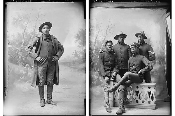 Unknown photographer's portrait of James Turner circa 1895 and photographer Harrison Putney's portrait of Private Paul Schrader of Ottawa, Kansas, and three Soldiers from the 23rd Volunteer Infantry circa 1895-1899. Glass plate negatives photographed in Leavennworth, Kansas, from the Amon Carter Museum of American Art, Fort Worth, Texas.