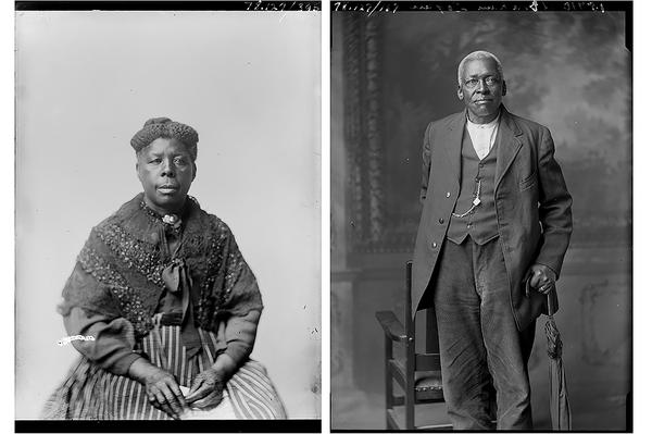 Unknown photographer's portrait of Mrs. Johnson in 1897 and unknown photographer's portrait of Abraham Logan. Glass plate negatives photographed in Leavennworth, Kansas, from the Amon Carter Museum of American Art, Fort Worth, Texas.
