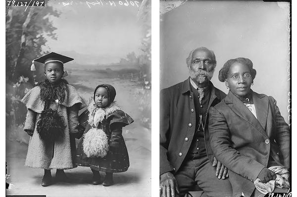 Unknown photographer's portrait of H. Hopkins children and an unknown photographer's portrait of Thomas Meadows circa1890. Glass plate negatives photographed in Leavennworth, Kansas, from the Amon Carter Museum of American Art, Fort Worth, Texas.