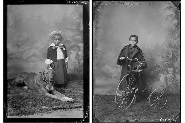 Horace Stevenson's portrait of Kelly Boy in 1893 and Stevenson's portrait of William Jordon with a tricycle in 1896. Glass plate negatives photographed in Leavennworth, Kansas, from the Amon Carter Museum of American Art, Fort Worth, Texas.