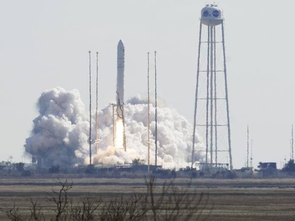 Northrop Grumman's Antares rocket lifts off the launch pad at NASA's Wallops Island flight facility in Wallops Island, Va., on Saturday. The rocket is delivering cargo to the International Space Station.