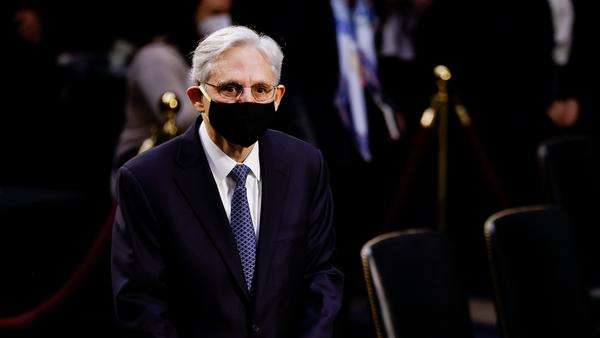 Judge Merrick Garland, once denied a Supreme Court confirmation hearing by Republicans, arrives to testify on his nomination to be attorney general.