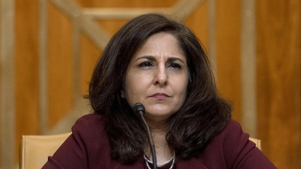 Neera Tanden appears before a Senate Committee on the Budget hearing on Feb. 10.