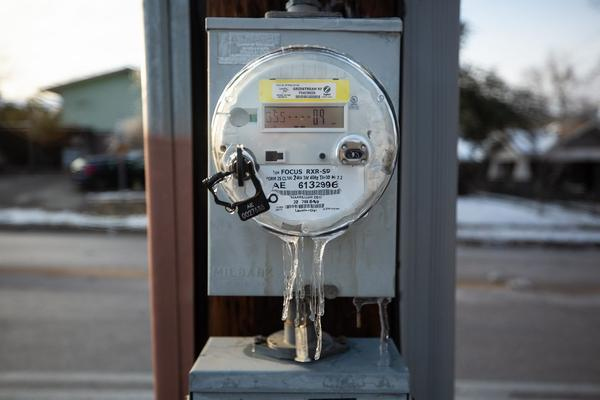 An electricity and energy reader in the Hyde Park neighborhood of Austin.