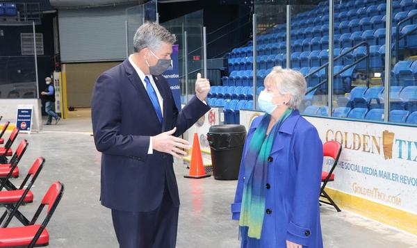 U.S. Rep Darin LaHood on a tour Monday of the COVID-19 vaccination clinic at Grossinger Motors Arena in Bloomington.