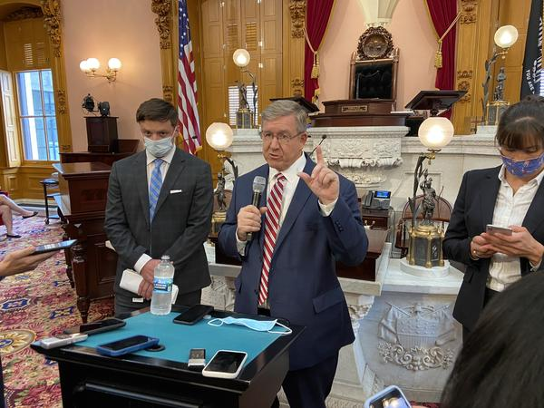 Speaker Bob Cupp (R-Lima) holds a briefing with reporters after session on September 1, 2020.