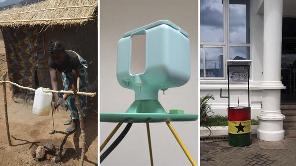 (Left to right) Tippy Tap, Oxfam hand-washing station and SolaWash