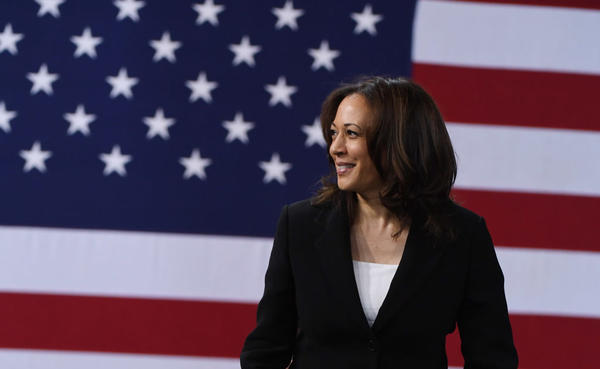 Then Sen. Kamala Harris at the National Forum on Wages and Working People on April 27, 2019 in Las Vegas, Nevada.  (Ethan Miller/Getty Images)