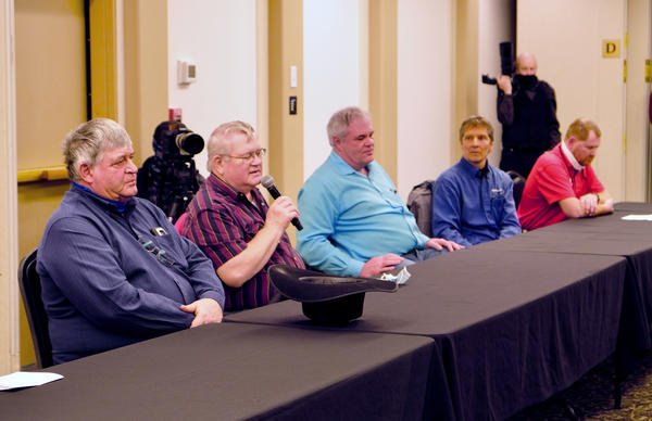 Community members in northeastern Montana speak about the impacts of the Keystone XL pipeline cancellation at a round table with Gov. Greg Gianforte at the Cottonwood Inn & Suites in Glasgow, Feb. 22, 2021.