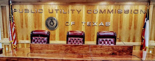 The meeting room of the Texas Public Utility Commission.