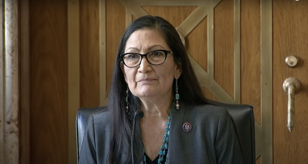 New Mexico Congresswoman Deb Haaland, President Joe Biden's nominee to lead the Interior Department, delivers an opening statement as her Senate confirmation hearing began Tuesday.