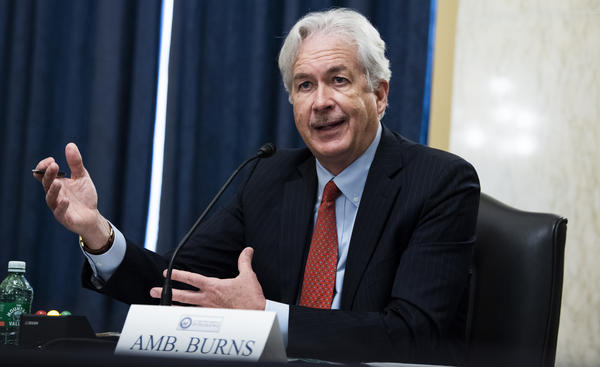 William Burns, President Biden's nominee for CIA director, testifies before the Senate Intelligence Committee on Wednesday. Burns served more than 30 years at the State Department and would be the first career diplomat to lead the spy agency.