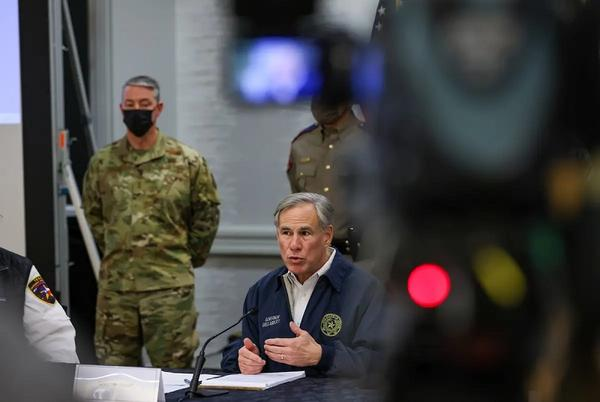 Gov. Greg Abbott spoke at a press conference about the winter storm that was approaching Texas on Feb. 13, 2021.