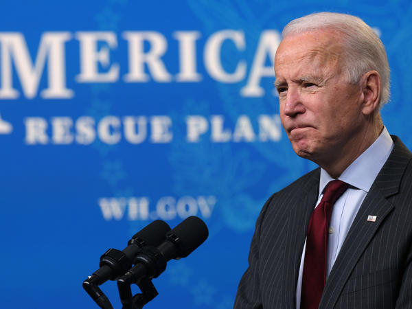 President Biden speaks during an announcement on small businesses in Washington, D.C. on Feb. 22. Biden has proposed a $1.9 trillion stimulus plan that is attracting strong opposition from Republicans – and even some Democrats.