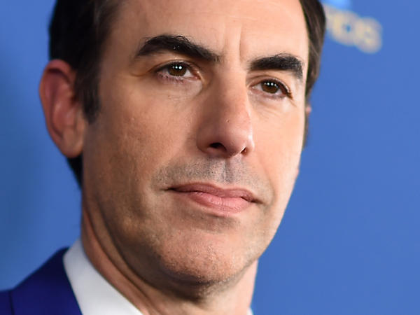 Sacha Baron Cohen, shown here in 2019, has been nominated for three Golden Globe Awards: two for acting in and producing <em>Borat Subsequent Moviefilm</em> and another for his supporting actor role in <em>The Trial of the Chicago 7.</em>
