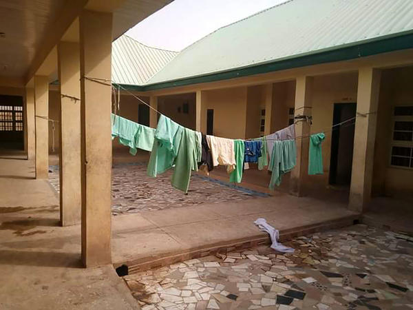 School uniforms hang in the deserted dormitory of the Government Girls Science Secondary School at Jangede, Zamfara State in northwest Nigeria, where more than 300 students were kidnapped by gunmen in the early hours of Feb. 26.