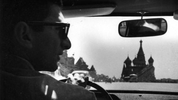 Marvin Kalb driving near St. Basil's Cathedral in Moscow's Red Square.