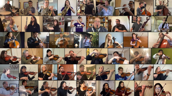 """""""I got a lot of emails after we posted our first video,"""" says violinist Dr. Erica Hardy. She says the orchestra's virtual performances are a way to give back to the community."""